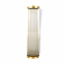 Modern Brass Art Deco Glass Rod Sconce