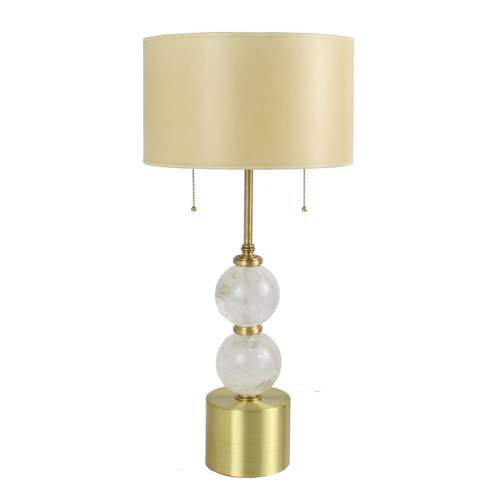 Modern brass table lamp with rock crystal balls art deco decor modern brass rock crystal ball table lamp geotapseo Choice Image