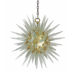 Modern Brass Sputnik Chandelier with LED Lit Points
