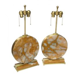 Modern Brass & Natural Onyx Stone Table Lamps
